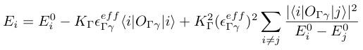 E_i=E_i^0-K_{¥Gamma} ¥epsilon_{¥Gamma ¥gamma}^{eff}¥langle i|O_{¥Gamma ¥gamma}|i¥rangle+K_¥Gamma^2(¥epsilon_{¥Gamma ¥gamma}^{eff})^2¥sum_{i¥ne j}¥frac{|¥langle i|O_{¥Gamma ¥gamma}|j¥rangle |^2}{E_i^0-E_j^0}