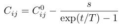 C_{ij}=C_{ij}^0-¥frac{s}{¥exp(t/T)-1}